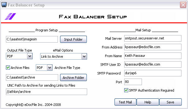 Software to equally distribute faxes by email or file folders well known Screen Shot