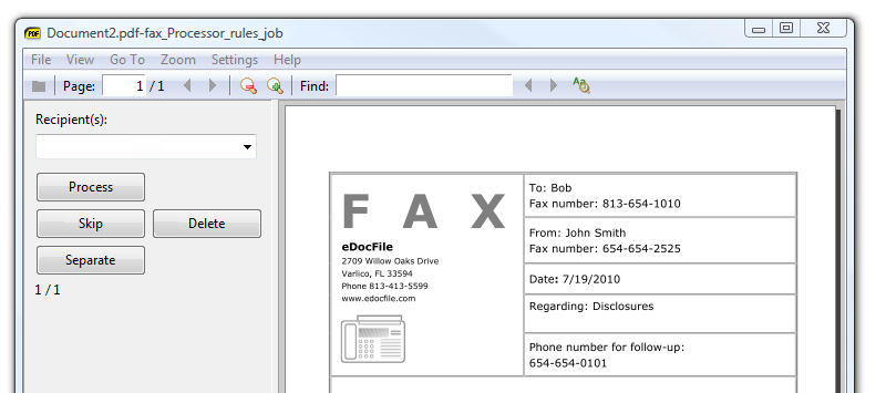Software to efficiently distribute faxes by email to a file folder or printer reliable Screen Shot